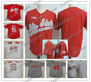 Ohio State Buckeyes Custom Jeder Name Jede Nummer Weiß Rot Genäht # 33 Dominic Canzone # 27 Fred Taylor NCAA College Baseball Jersey