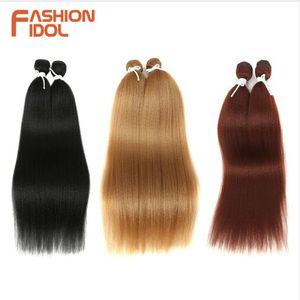 Fasci di capelli sintetici ad alta temperatura di estensione dei capelli di alta qualità dei capelli diritti di 22 centimetri di Yaki dei peli sintetici di 2pc / lot