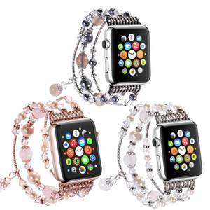 대한 여성 보석 손목 팔찌 시계 밴드 애플 시계 시리즈 1 2 3 4 5 패션 스트랩 Iwatch 38mm의 40mm에서 42mm의 44mm 위브 시계 밴드에 대한