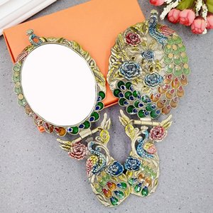 Retro desktop mirror large size Folding portable princess mirror Handheld peacock Makeup mirror for home decoration gifts J056A