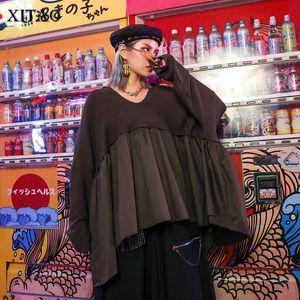Xitao Splice Plus Size Jumper V Neck Mulheres camisola preguiçosos Oaf Bat Knitter coreano Mulheres Roupa 2019 solto pulôver XJ2065