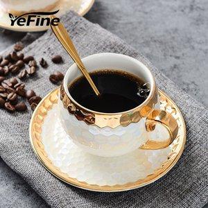 YeFine turcos copos de café cerâmica Com inoxidável Colher ouro embutimento porcelana Coffee Cups Pires Define Afternoon Tea Teacup T191024
