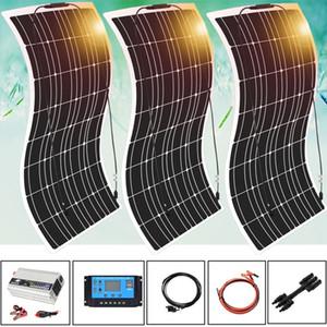 300w 3 * 100w panel solar Mono cargador de batería con 5V / 12V Controlador / 24V 30A / 40A 1000w 110v 220v para el coche de batería Yate Barco RV Inicio