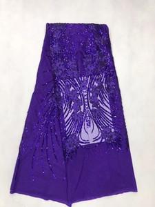 Tissu de dentelle violet africain français Guipure coton cordon paillettes Tulle Nigérian Tissu Mesh Inde Dentelle Pour La Robe De Mariée