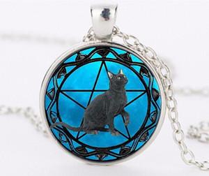 Gato preto Pingentes para As Mulheres Wicca Wicca Wicca Pentagrama Colar De Cristal Azul Colar de Pingente de Cristal jóias