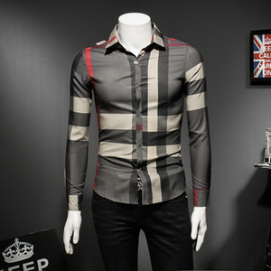 2018 nuova camicia a maniche lunghe ferroviaria europea camicia personalità maschile primavera e autunno moda selvaggia marea uomini casual