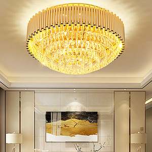 LED Modern K9 Crystal Ceiling Lights Fixture American Golden Round Shining Ceiling Lamp Dining Room Restaurant Bedroom Home Indoor Lighting