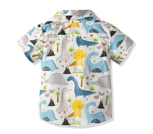 Baby Boys Shirts Short Sleeve Summer 2019 Cartoon Shirt For Boy Dinosaur Print Children Shirt Toddler Boy Child Clothes 1-6 Year