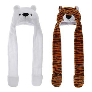 2pcs плюшевые мягкие Животное Hat Зимняя Beanie Hat варежки и шарф 3 в 1 Hat, один размер подходит для всех взрослых Дети