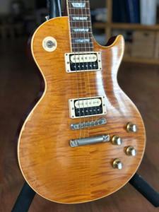 1959 Relic Slash # 5 AFD Murphy invecchiato appetito firmato per distruzione fiamma acero top chitarra elettrica a un pezzo corpo collo, piccolo ponte pin