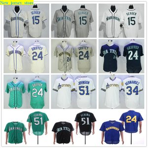 Stitched Seattle #51 Ichiro Suzuki Jersey Mariners 15 Kyle Seager 24 Ken Griffey Jr. 51 Randy Johnson 34 Felix Hernandez Baseball Jerseys