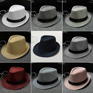 Moda Kadınlar Keten Hasır Şapka Erkekler Cimri Brim Fedora Panama Güneş kremi Şapka Açık Seyahat Plaj Güneş Şapka TTA954
