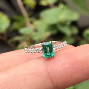 AEAW ювелирные изделия 18 карат белого золота 0.5 карат натуральный настоящий изумруд кольцо юбилей настоящее кольцо с бриллиантом зеленый драгоценный камень женщин ювелирные изделия