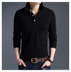Casual Homme Revers Mode Sleeve Neck Tops Mens Polo Atmungsaktive und lange Kleidung Designer Solid Mens Blrvu