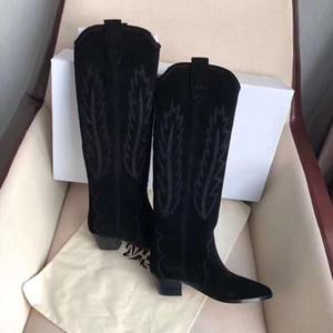 Moda Çizmeler Paris Siyah Süet Deri Isabel Denzy Işlemeli Süet Diz Boots Marant Nadir Batı Yüksek Noktası-ayak Çizmeler Ayakkabı