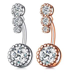 Yeni Elmas Dangle Göbek Barlar Belly Button Yüzükler Göbek Piercing Kristal Çiçek Vücut Takı Göbek Piercing Yüzük Çiçek Şekli Kolye Set