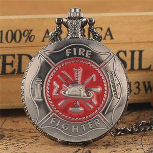 Cinza Vermelho Fire Fighter Símbolo Carving Pocket Watch Steampunk Tampa de Bombeiro Relógios De Quartzo Bombeiro Pingente de Colar de Corrente