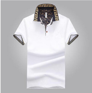 estate camicia di modo polo Rinfrescante traspirante semplice pulsante modo di svago del risvolto maniche corte camicia degli uomini grandi dimensioni M-5XL