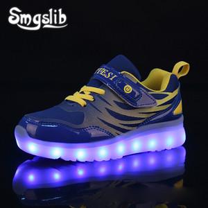 Kids Led Sneaker Boys Shoes Usb Charging 2019 Primavera Otoño Niños Zapatos Con Light Up Luminous Girls Glowing School Shoes Y190523