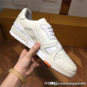 Hot style sells high quality mens casual sports shoes cowhide stitching special fabric mixed with color leather sneaker With box 39-44cm