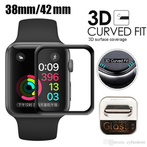 Cyberstore For Apple Watch 3D Full Coverage Tempered Glass Screen Protector 42 38 44mm Anti-Scratch Bubble-Free For iWatch 1  2  3 4