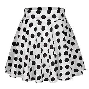 2018 Red Black White Women Skirts Polka Dot High Waist Vintage Skirt Skater Midi Skirt faldas mujer Skirt Drop Shipping 3J09*