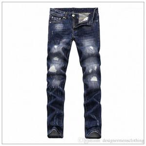 Medusa Deep Blue Skinny pantolonlar Tasarımcı Delik Elastik Fermuar Jeans 2019 Vogue Erkek Jeans İlkbahar Yeni