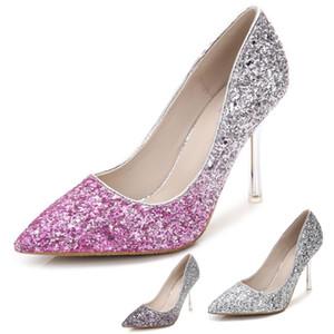 Blingbling Wedding Dress Shoes 2019 Celebrity Ispirato Abiti da cerimonia formale Tacchi alti sottili 9cm 7cm 5cm Paillettes Prom Shoes