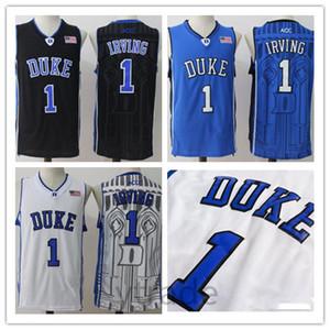 Mens Duke Diables Bleus Kyrie Irving College Maillot De Basket-ball Pas Cher Bleu Noir Blanc Kyrie Irving Surpiqué NCAA Basketball Chemises S-2XL