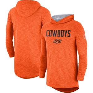NCAA Outdoor Shirts Oklahomai State Cowboys Orange Rivalry Slub Sports Performance Hoodie Long Sleeve hooded T-Shirt