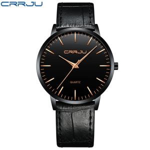 2021 Relojes para hombre de lujo Crrju Men Ultra Thin Impermeable Deporte Cuarzo Reloj de pulsera Masculino Slim Cuero Strap Regalo Reloj Reloj Hombre