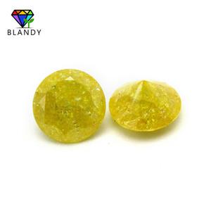 5A Grado suelto Color oro tratamiento de hielo Cubic Zirconia piedra 5 mm 4 mm corte redondo sintético CZ gemas para joyería