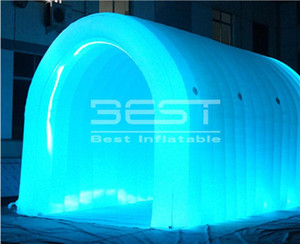 4M Long Long Outdoor Promotional LED Luz inflable Túnel Deportivo Blanco Eventos Personalizados Party Stage Tunnel Gigante Inflable Túnel deportivo