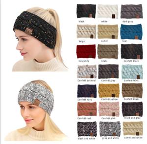 CC Hairband Красочные Вязаные крючком Twist оголовье зимы уха Теплее эластичная лента для волос Аксессуары для волос Широкий