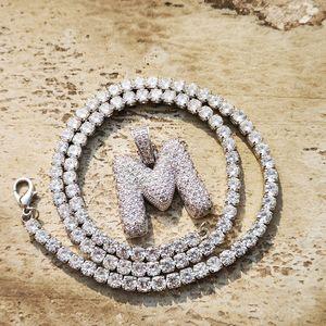 Custom Name 26 Buchstaben Halsketten-Anhänger mit 5mm Tennis Kette KubikZircon Frauen-Männer Hip Hop Schmuck
