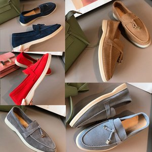 Lüks Tasarımcı Yaz Charms gündelik Ayakkabı Kadınlar rahat ayakkabı Erkekler Süet Buzağı Cilt Muller ayakkabılar Marka klasik Yürüyüş Flats yürüyün