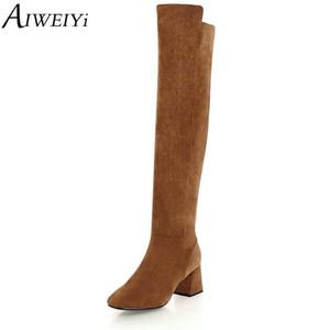 Coscia AIWEIYi femminile sopra il ginocchio stivali pelle scamosciata del Faux delle donne di alta Boots colore solido spessa dei talloni donna del motociclo