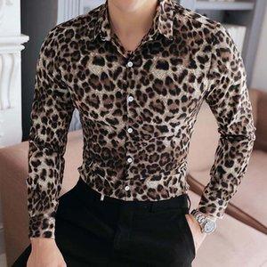 High Quality Men Shirt Brand New Slim Fit Casual Leopard Print Social Shirts Dress Long Sleeve Plus Size Night Club Shirts