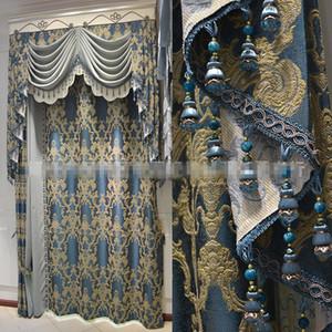 사용자는 유럽의 거실 블루 천 정전 커튼 드리운 얇은 명주 그물 커튼 B496 높은 정밀도 자카드 커튼