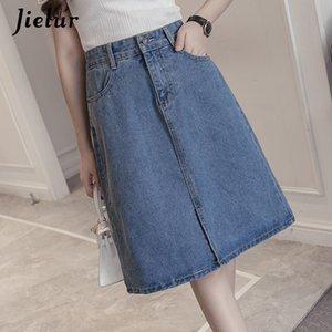 Jielur Summer Jeans Skirt Women Young Chic Harajuku Skirts Denim Ladies Novelty Street Leisure High Waist A Line Blue Jupe Femme CX200605