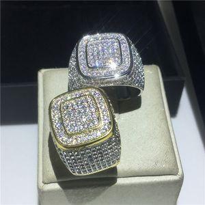 Anelli fatti a mano da uomo in argento 925 Anelli in argento sterling Pave 5A Cz con pietra a forma di anelli per gli uomini