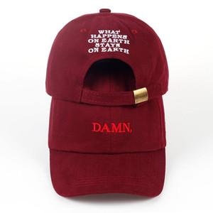 2017 ne'w şarap kırmızı kendrick lamar lanet olası cap nakış DAMN. yapılandırılmamış baba şapka kemik kadın erkek rapçi beyzbol şapkası