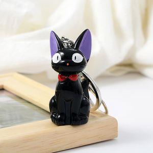 Black Cat JIJI keychain Anime Kiki's Delivery Service Kiki Cat 3D Mini Keychain Kids Toy Key Holder брелок коллекция подарков zdl0428.