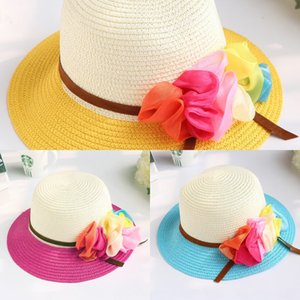 Summer Beach woven girl paper and grass color Sunscreen Straw straw matching flower princess hat children's sunscreen hat