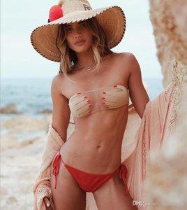 New boob tube top Sandy beach swimsuit designer sexy Bikini transparency frenum hollow out bikinis printing bra Briefs factory direct sale