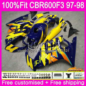 Injection For HONDA CBR600 F3 FS CBR600FS CBR 600 F3 97 78HM.37 CBR 600F3 CBR600RR CBR600F3 97 98 1997 1998 100% Fit Yellow blue Fairings
