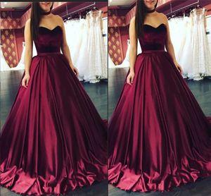 Vino rosso Quinceanera Abiti Sweetheart lunghezza del pavimento 2019 economici eleganti abiti da ballo in velluto di raso Quinceanera Dress
