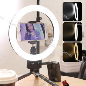 Lámparas de vanidad Lámpara de anillo 26 cm Dimmable 3000-5000K Aleación de aluminio con trípodes de mesa para selfie Makeup Video Live Studio EUB
