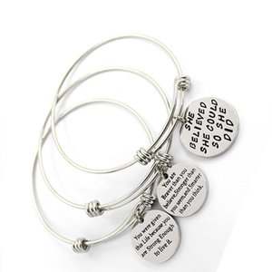 Adjustable Stainless Steel Bracelets For Womens Inspirational Words Metal Card Charm Bracelet