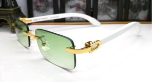 With Red Box Buffalo Horn Glasses Men Bamboo Wooden Sunglasses fashion attitude Original White Wood Rimless Sun Glasses Oculos De Sol Mascu